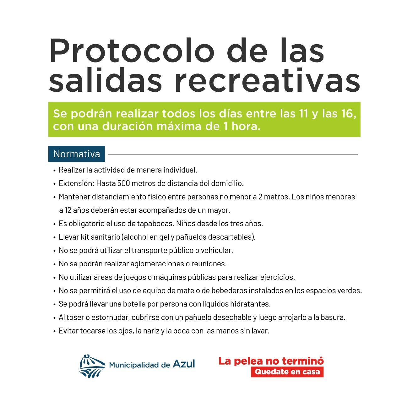 Protocolo para las salidas recreativas