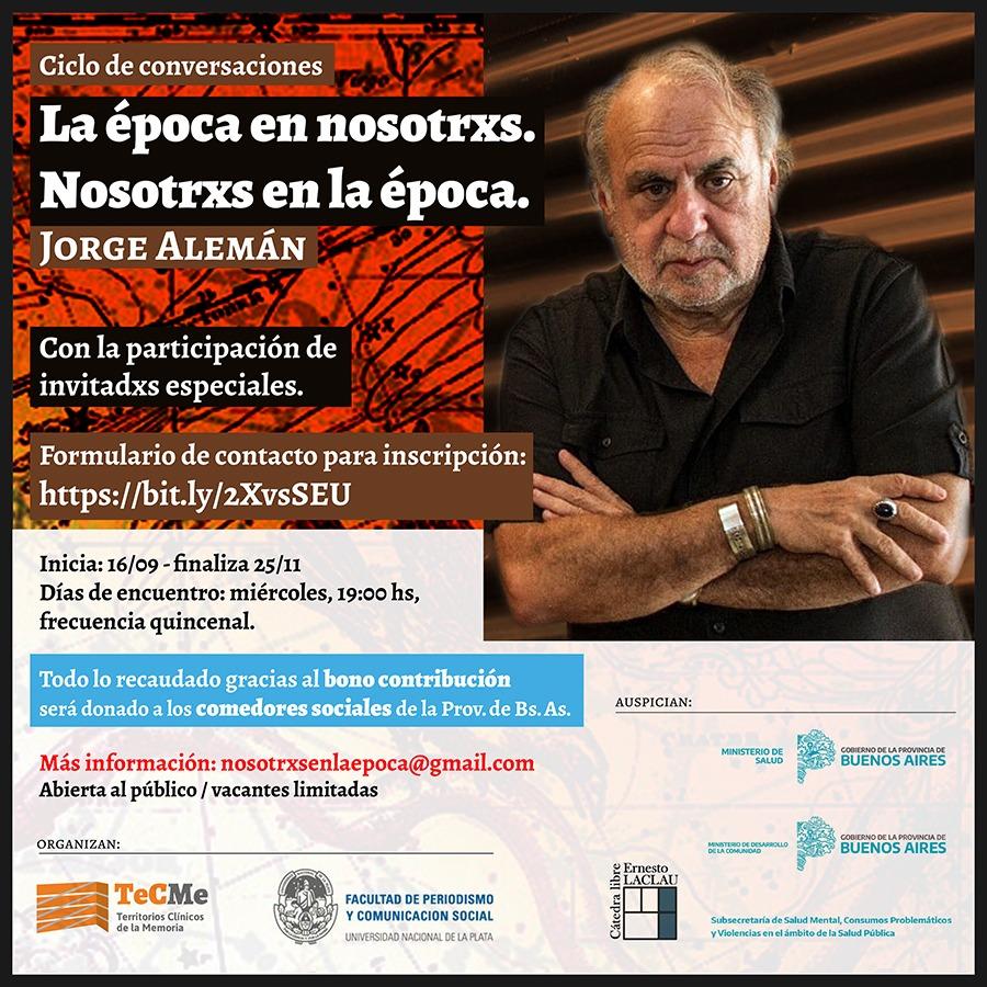 Abrió la inscripción al ciclo de charlas virtuales a cargo del psicoanalista Jorge Alemán