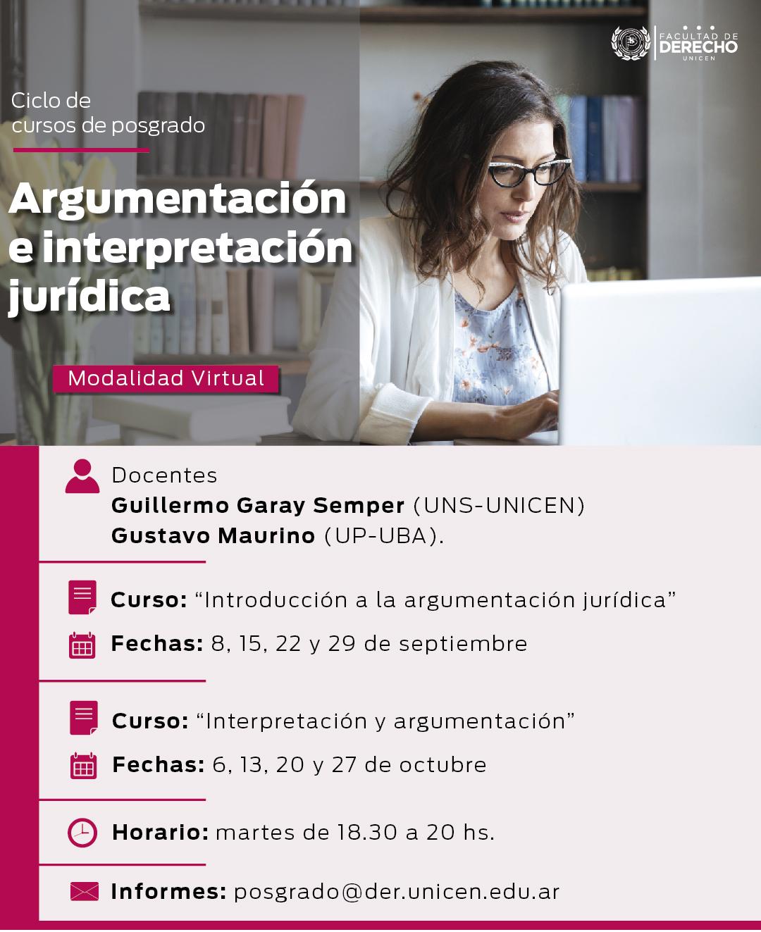 """Ciclo de cursos de posgrado: """"Argumentación e interpretación jurídica"""" con modalidad virtual en Facultad de Derecho de Azul"""