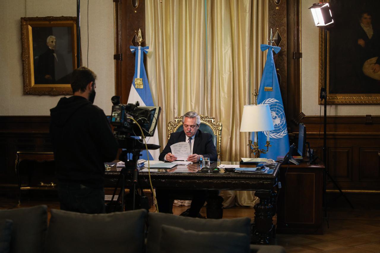 En la ONU, el Presidente convocó al diálogo, la solidaridad  y la cooperación mundial para superar la crisis sanitaria y social
