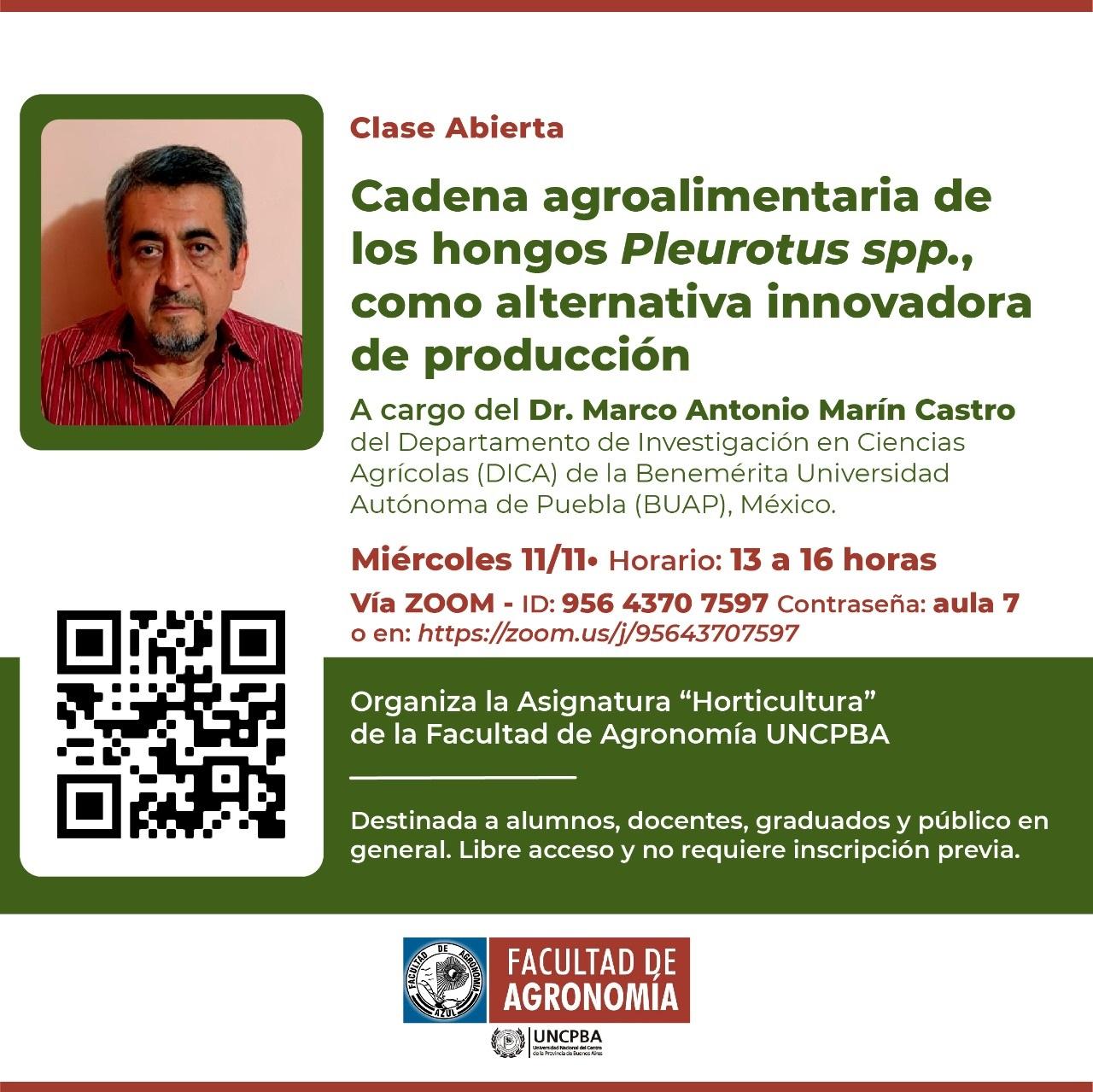 """Clase Abierta sobre """"Cadena agroalimentaria de los hongos Pleurotus spp., como alternativa innovadora de producción"""""""
