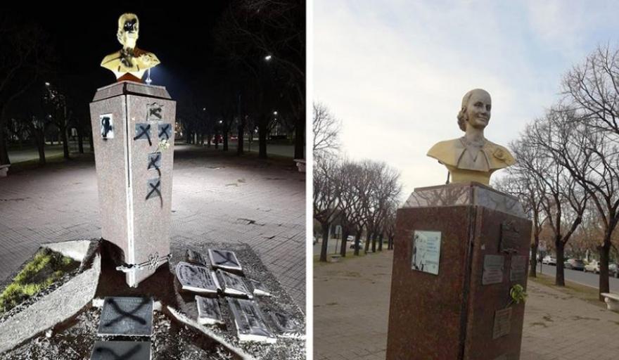 Repudio en Necochea por la vandalización de un monumento de Eva Perón